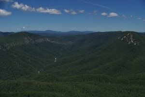 Upstream in the Linville Gorge with Tennessee Mountains in the background