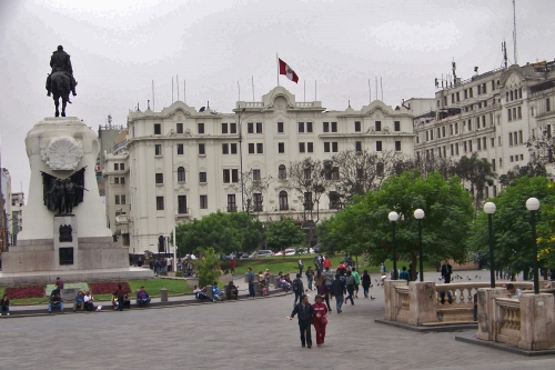 Statue and Hotel of Bolivar on the Main Square