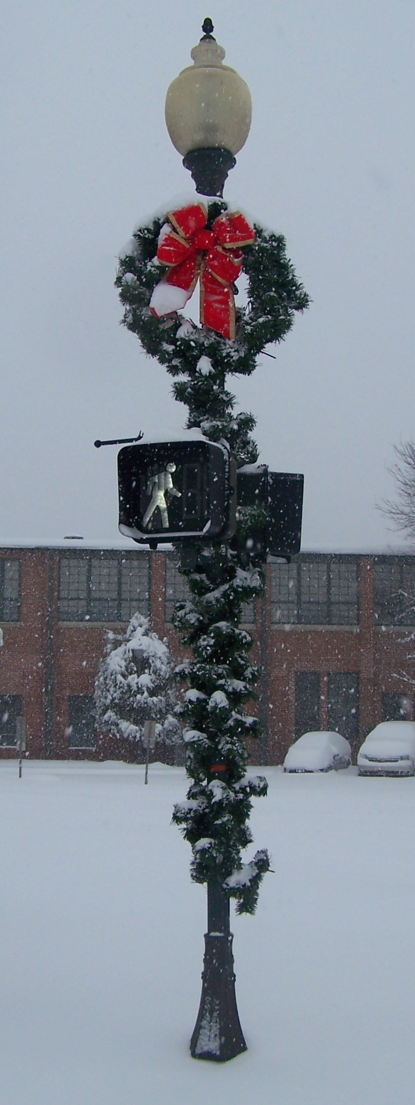 Decorated Snowy Lightpole