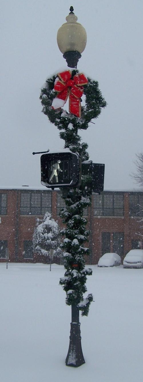 Decorated Snowy Lightpole